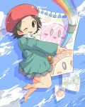 1girl adeleine barefoot blush_stickers brown_hair clouds collared_shirt commentary_request hat holding holding_paintbrush kirby kirby_(series) maxim_tomato miniskirt one_eye_closed oosuzu_aoi outstretched_arm paintbrush painting palette paper rainbow red_headwear shadow shirt short_hair skirt sky smile solo_focus teeth thighs waddle_dee