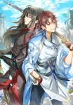 2boys back-to-back bangs black_hair blue_sky book brown_eyes cloud_print clouds day ddaomphyo flower gloves highres long_hair long_sleeves looking_at_viewer male_focus multiple_boys official_art original outdoors over_shoulder partly_fingerless_gloves sky smile sword weapon