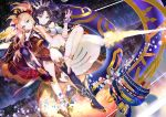 119 anklet armlet asymmetrical_legwear asymmetrical_sleeves black_cape blonde_hair bridal_gauntlets cape detached_collar earrings elbow_gloves ereshkigal_(fate/grand_order) fate/grand_order fate_(series) gloves heavenly_boat_maanna highres hoop_earrings ishtar_(fate/grand_order) jewelry long_hair neck_ring pelvic_curtain red_cape red_eyes revision single_elbow_glove single_thighhigh thigh-highs toeless_legwear toosaka_rin very_long_hair weapon yellow_cape