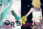 2girls aqua_hair back bare_shoulders belt black_background black_skirt blonde_hair blurry bow crop_top debris depth_of_field detached_sleeves hair_bow hatsune_miku heart holding_hands kagamine_rin midriff_peek multiple_girls orbital_(vocaloid) pleated_skirt sailor_collar shirt short_hair shorts side-by-side sketch skirt sky sleeveless sleeveless_shirt song_name splatter star_(sky) starry_sky twintails two-tone_background underl vocaloid white_background wounds404