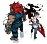2boys back-to-back black_hair clenched_hands commentary_request dark_skin denim dougi fuse_ryuuta glowing glowing_eyes gouki heaven_(kanji) height_difference jeans jersey long_hair male_focus manly multiple_boys muscle pants pose real_life red_eyes redhead rope sandals shun_goku_satsu sleeveless sportswear street_fighter street_fighter_v tokido topknot wristband