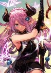 1girl belt black_gloves blue_eyes breasts bug butterfly demon_horns draph gloves granblue_fantasy hair_ornament hair_over_one_eye hairclip hankuri holding holding_sword holding_weapon horns insect katana large_breasts lavender_hair lens_flare long_hair low_tied_hair low_twintails narmaya_(granblue_fantasy) pointy_ears scabbard serious sheath sideboob sleeveless solo sword twintails unsheathing weapon