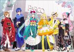 aqua_hair aqua_kimono arm_up bag bangs black_kimono black_legwear black_pants blonde_hair blue_eyes blue_flower blue_hair blue_kimono blue_rose blue_scarf boots bow brother_and_sister brown_eyes brown_hair capelet commentary_request cross-laced_footwear dress eyebrows_visible_through_hair floral_print flower gloves gradient_hair green_hair hair_between_eyes hair_bow hair_flower hair_ornament hakusai_(tiahszld) hand_on_headwear handbag hat hatsune_miku high_heel_boots high_heels holding holding_bag japanese_clothes kagamine_len kagamine_rin kaito kimono lace-up_boots long_hair long_sleeves megurine_luka meiko multicolored_hair nail_polish obi open_clothes orange_capelet orange_dress pants pink_hair print_kimono red_bow red_flower red_kimono red_nails rose rose_print sash scarf shoe_soles shoes siblings side_ponytail sleeves_past_wrists standing standing_on_one_leg stuffed_animal stuffed_bunny stuffed_toy tabi thigh-highs twintails very_long_hair violet_eyes vocaloid white_flower white_footwear white_gloves white_headwear wide_sleeves yellow_legwear zouri