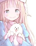 1girl animal backlighting bangs blue_eyes closed_mouth collarbone dog dot_nose fang fluffy hands_up hat holding holding_animal juliet_sleeves long_hair long_sleeves looking_at_viewer original pomeranian_(dog) puffy_sleeves simple_background skin_fang smile solo tareme upper_body white_background white_dog yoshinogai