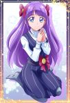 1girl bangs blue_eyes bow closed_mouth dress eyebrows_visible_through_hair full_body grey_legwear hair_bow hanzou highres kaguya_madoka kneeling long_hair long_sleeves looking_at_viewer medium_dress pantyhose pinafore_dress precure purple_dress purple_hair red_bow shiny shiny_hair shirt smile solo star_twinkle_precure striped turtleneck vertical-striped_dress vertical_stripes very_long_hair white_shirt
