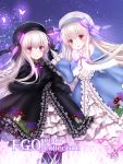 2girls alice_(fate/extra) black_bow black_dress black_gloves black_headwear blue_bow blue_dress bow bowtie bug butterfly closed_mouth doll_joints dress fate/extra fate/grand_order fate_(series) food_print frilled_dress frills gloves hat hat_bow insect long_hair looking_at_viewer multiple_girls mushroom_print nursery_rhyme_(fate/extra) open_mouth print_dress purple_bow smile violet_eyes white_bow white_gloves white_hair white_headwear yuzushiro
