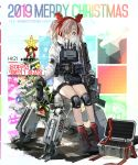 1girl alternate_costume antlers bangs black_footwear black_gloves boots character_name christmas christmas_ornaments christmas_tree cross-laced_footwear earmuffs expressionless girls_frontline glasses gloves grey_hair gun h&k_hk21 hair_ornament hair_over_one_eye hairband highres hk21_(girls_frontline) holding holding_gun holding_weapon jacket jewelry knee_pads load_bearing_equipment long_hair long_jacket long_sleeves looking_at_viewer official_art red_hairband red_legwear robot round_eyewear sidelocks sitting socks solo star thighs turtleneck twintails violet_eyes weapon white-framed_eyewear white_jacket xiao_chichi