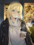 1girl :o bangs black_jacket blonde_hair blurry blurry_background blush breasts breathing coffee_cup cold cup disposable_cup earrings green_eyes grey_sweater hair_between_eyes holding holding_cup isegawa_yasutaka jacket jacket_on_shoulders jewelry long_hair looking_at_viewer medium_breasts orange_nails original revision sidelocks solo standing sweater sweater_vest turtleneck turtleneck_sweater