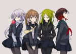 4girls black_jacket black_legwear black_sailor_collar black_serafuku black_shirt black_skirt blue_eyes blue_jacket blue_scarf brown_eyes brown_hair cowboy_shot crescent crescent_hair_ornament crescent_moon_pin fumizuki_(kantai_collection) gradient_hair green_eyes green_hair green_sailor_collar grey_background hair_ornament hands_in_pockets highres jacket kantai_collection kokudou_juunigou long_hair long_sleeves mittens multicolored_hair multiple_girls mutsuki_(kantai_collection) nagatsuki_(kantai_collection) neckerchief pantyhose plaid plaid_scarf pleated_skirt ponytail purple_hair red_mittens red_neckwear redhead remodel_(kantai_collection) sailor_collar scarf school_uniform serafuku shirt short_hair simple_background skirt standing thighband_pantyhose white_shirt yayoi_(kantai_collection) yellow_neckwear