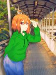 1girl bridge brown_hair city holiday indonesia jacket looking_at_viewer original pixiv_red realistic red_eyes scenery short_hair smile solo souji296 sunset uniform waiting