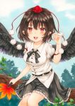 1girl :d absurdres bangs belt black_belt black_hair black_neckwear black_ribbon black_skirt black_wings blue_sky blush branch breasts clouds commentary_request day eyebrows_visible_through_hair fan feathered_wings feet_out_of_frame hair_between_eyes hand_up hat highres holding holding_fan kananotte leaf leaf_fan looking_at_viewer medium_breasts miniskirt neck_ribbon open_mouth outdoors petticoat pointy_ears pom_pom_(clothes) puffy_short_sleeves puffy_sleeves red_eyes ribbon shameimaru_aya shirt short_hair short_sleeves sidelocks sitting skirt sky smile solo tassel tokin_hat touhou traditional_media tree white_shirt wings