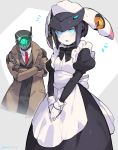 1boy 1girl absurdres alternate_costume apron dia_(world_flipper) enmaided formal highres maid maid_apron maid_dress mechanical_arm necktie regis robot robot_joints suit suurin_(ksyaro) trench_coat world_flipper