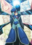 1girl 6+boys android arm_cannon arm_up bald beard capcom commentary_request degarashi_(ponkotsu) double_(rockman_x4) dr._cain facial_hair full_body green_eyes helmet iris_(rockman_x) isoc middy multiple_boys mustache rockman rockman_x rockman_x4 rockman_x6 rockman_x:_cyber_mission solo_focus standing techno weapon