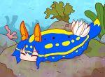 1girl ^_^ animal animal_ear_fluff animal_ears animalization bangs blush closed_eyes commentary_request coral eyebrows_visible_through_hair kemomimi-chan_(naga_u) long_hair naga_u original rabbit_ears sea_slug sidelocks solo underwater water