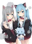 2girls :p :t akanbe amashiro_natsuki animal_ears black_jacket blue_eyes blue_hair blush bow bowtie candy cat_ears cat_girl cat_tail closed_mouth collar detached_collar fake_animal_ears food food_in_mouth food_themed_hair_ornament grey_hair hair_ornament high-waist_skirt highres holding holding_stuffed_animal hood hood_down hooded_jacket jacket lollipop long_hair looking_at_viewer multiple_girls nacho_(amashiro_natsuki) nekoha_shizuku open_clothes open_jacket original pleated_skirt red_neckwear red_skirt shirt skirt sleeveless sleeveless_shirt smile stuffed_animal stuffed_cat stuffed_toy tail tongue tongue_out very_long_hair white_background white_collar white_shirt
