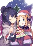 2girls :d abigail_williams_(fate/grand_order) animal bangs black_bow black_hair blue_eyes bow commentary_request dress fate/grand_order fate_(series) food fur-trimmed_hat fur-trimmed_sleeves fur_trim grey_jacket grin hair_bow hair_bun hair_ornament hand_on_another's_shoulder hat highres hood hood_down hooded_jacket jacket katsushika_hokusai_(fate/grand_order) long_sleeves multiple_girls nanateru octopus one_eye_closed open_mouth orange_bow parted_bangs polka_dot polka_dot_bow red_dress red_headwear santa_costume santa_hat sleeves_past_fingers sleeves_past_wrists smile tokitarou_(fate/grand_order) upper_teeth