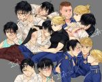 artist_name back bandaid_on_cheek bangs black_hair black_shirt blonde_hair blood blood_from_mouth blood_on_face bloody_hands blue_eyes blue_jacket blue_pants blue_shirt blush closed_eyes closed_mouth collar collarbone collared_jacket collared_shirt crying crying_with_eyes_open deviantart_username fullmetal_alchemist gloves grey_background hand_on_forehead hand_on_hand hand_on_head heymans_breda highres injury insertsomthinawesome jacket jean_havoc long_sleeves looking_at_another looking_at_viewer looking_down military military_uniform multiple_boys multiple_girls multiple_persona open_mouth pants riza_hawkeye roy_mustang scar shirt short_hair short_ponytail short_sleeves signature simple_background sweat tears teeth torn_clothes torn_gloves torn_shirt uniform watermark web_address white_gloves white_shirt
