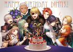 4girls 5boys annette_fantine_dominic armor artist_name ashe_ubert black_hair blonde_hair blue_eyes bouquet box brown_eyes byleth_(fire_emblem) byleth_(fire_emblem)_(female) cake candle cape closed_eyes closed_mouth dark_skin dark_skinned_male dedue_molinaro dimitri_alexandre_blaiddyd earrings eyepatch felix_hugo_fraldarius fire_emblem fire_emblem:_three_houses flower food from_side fur_trim gift gift_box gloves green_cape green_eyes green_hair grey_hair grin happy_birthday haru_(toyst) hat holding ingrid_brandl_galatea jewelry long_sleeves matchstick medium_hair mercedes_von_martritz multiple_boys multiple_girls one_eye_closed open_mouth orange_hair redhead short_hair smile sylvain_jose_gautier table veil white_gloves
