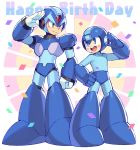2boys android anniversary blush capcom commentary_request confetti full_body green_eyes hand_on_hip happy_birthday helmet iroyopon looking_at_another male_focus multiple_boys open_mouth rockman rockman_(character) rockman_(classic) rockman_x salute smile standing x_(rockman)