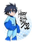 1boy android anniversary black_hair blue_eyes blush capcom cowboy_shot cropped_legs dated hair_between_eyes headwear_removed helmet helmet_removed holding holding_helmet male_focus rockman rockman_(character) rockman_(classic) ryuda simple_background smile solo text_focus twitter_username