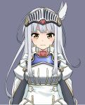 1girl armor armored_dress bangs blush breastplate brown_eyes closed_mouth commentary_request dress eyebrows_behind_hair grey_background knight long_hair original sekira_ame silver_hair simple_background solo upper_body v-shaped_eyebrows white_dress