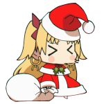 >_< 1girl blonde_hair blush_stickers chibi christmas closed_eyes commentary earrings english_commentary ereshkigal_(fate/grand_order) fate/grand_order fate_(series) hair_ribbon hat highres hoop_earrings jewelry loen-lapae long_hair long_sleeves meme open_mouth padoru red_headwear ribbon sack santa_costume santa_hat simple_background sneezing solo standing tohsaka_rin toosaka_rin type-moon what white_background