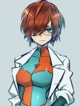 1girl alternate_hair_length alternate_hairstyle android android_21 black-framed_eyewear blue_eyes breasts brown_hair checkered checkered_dress dragon_ball dragon_ball_fighterz dress earrings glasses hoop_earrings jewelry kemachiku labcoat looking_at_viewer medium_breasts short_hair solo straight_hair