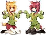 2girls animal_ear_fluff animal_ears bangs bell bell_collar black_footwear black_legwear blonde_hair blue_coat blue_eyes blush borrowed_character collar commentary_request eyebrows_visible_through_hair fox_ears fox_girl fox_tail green_shirt green_skirt hair_between_eyes hair_bun hair_ornament hands_up jingle_bell kemomimi-chan_(naga_u) loafers long_hair long_sleeves multiple_girls necktie nekopan_mashiro original parted_lips pleated_skirt red_collar red_skirt redhead ribbon-trimmed_legwear ribbon_trim sailor_collar shadow shirt shoes sitting skirt sleeves_past_fingers sleeves_past_wrists sparkle tail thigh-highs tongue violet_eyes wariza white_background white_legwear white_sailor_collar yellow_neckwear
