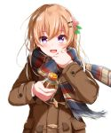1girl blush bottle brown_coat brown_hair coat eyebrows_visible_through_hair gochuumon_wa_usagi_desu_ka? hair_ornament hairclip highres holding holding_bottle hoto_cocoa long_sleeves looking_at_viewer multicolored multicolored_clothes multicolored_scarf open_mouth scarf short_hair simple_background smile solo upper_body violet_eyes white_background ysys