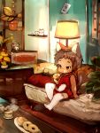 2boys braid cat catboy china_dress chinese_clothes couch crossdressing cup doughnut dress eating food full_body highres lamp miniboy multiple_boys original otoko_no_ko plant potted_plant red_dress shirokujira single_braid sitting solo_focus tea teacup thigh-highs white_legwear