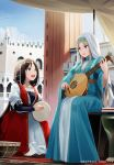 2girls :d aege-kai_wo_wataru_hana-tachi bangs bead_necklace beads blonde_hair blue_dress blue_eyes breasts brown_hair carpet castanets castle coin_(ornament) day dress drum frills head_chain hinoshita_akame holding holding_instrument instrument jewelry long_hair long_sleeves looking_at_another lute_(instrument) multiple_girls music necklace open_mouth playing_instrument sitting sky smile traditional_dress veil