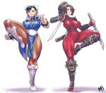 2girls :< alternate_costume arm_guards armor black_eyes blue_dress bodysuit boots bracelet breasts brown_eyes brown_hair brown_legwear bun_cover china_dress chinese_clothes chun-li commentary covered_navel cross-laced_footwear crossover double_bun dress dual_wielding earrings english_commentary eymbee fingerless_gloves full_body gloves greaves highres holding japanese_armor jewelry knee_boots knee_pads large_breasts looking_at_viewer makeup mascara multiple_girls ninja pantyhose pelvic_curtain ponytail puffy_short_sleeves puffy_sleeves red_bodysuit sash short_sleeves short_sword shoulder_armor side_slit skin_tight soulcalibur spiked_bracelet spikes standing standing_on_one_leg street_fighter street_fighter_v sword tabi taki_(soulcalibur) thick_thighs thighs toned v weapon white_background white_footwear