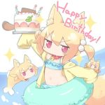 3girls animal animal_ear_fluff animal_ears animalization bangs bare_shoulders bell bell_collar bikini birthday_cake blonde_hair blue_bikini borrowed_character burning cake candle collar commentary_request crab eyebrows_visible_through_hair fire fish food fox_ears fox_girl fox_tail frilled_bikini frills gunhato_denki hair_between_eyes hair_bobbles hair_ornament happy_birthday holding hood hood_down hooded_jacket innertube jacket jingle_bell kemomimi-chan_(naga_u) long_hair long_sleeves multiple_girls navel open_clothes open_jacket original pink_eyes red_collar sleeves_past_fingers sleeves_past_wrists sparkle swimsuit tail twintails v-shaped_eyebrows yellow_jacket