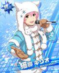 character_name dress hoodie idolmaster idolmaster_side-m microphone nekoyanagi_kirio pink_hair short_hair smile winter_clothes yellow_eyes