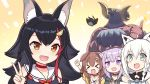 >_< 4girls :3 :d ^_^ ahoge animal_ear_fluff animal_ears animal_head aqua_eyes aqua_neckwear bangs bird black_hair black_hoodie blush blush_stickers bone_hair_ornament braid brown_hair cat_ears cat_girl chest_hair choker clapping clenched_hand clenched_hands closed_eyes collar collarbone commentary_request curled_horns dog_collar dog_girl eyebrows_visible_through_hair fang fox_ears fox_girl hatotaur highres hololive hood hood_down hoodie inugami_korone jacket kouhaku_nawa long_hair looking_at_viewer low_twin_braids multicolored_hair multiple_girls neckerchief nekomata_okayu off-shoulder_jacket ookami_mio open_clothes open_jacket open_mouth patyu3 purple_hair red_choker redhead sailor_collar shirakami_fubuki sidelocks single_braid skin_fang sleeveless smile streaked_hair thumbs_up upper_body v violet_eyes virtual_youtuber white_hair wolf_ears wristband yellow_background yellow_eyes yellow_jacket