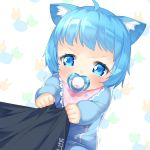 1girl ahoge animal_ear_fluff animal_ears animare baby bangs bib blue_eyes blue_hair highres kokka_han long_sleeves mouth_hold onesie pacifier simple_background sleeves_past_wrists solo souya_ichika tears v-shaped_eyebrows virtual_youtuber white_background younger