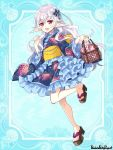 1girl :d animal_print bag blue_background blue_dress butterfly_print copyright_name dress elf full_body hair_ornament hand_up handbag long_hair nekozuki_yuki obi official_art open_mouth pandora_party_project pink_eyes pink_handbag pointy_ears sandals sash silver_hair simple_background smile solo