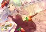 1girl aqua_hair arms_up beret blueberry blush buffet cake candy chocolate commentary_request cookie cream_puff creme_brulee dress dutch_angle food food_on_head fruit fruit_on_head gradient_hair hat holding holding_cookie holding_plate jewelry layered_dress long_hair looking_at_viewer macaron multicolored_hair necklace object_on_head original parfait pearl_necklace pechi_(peeechika) plate raspberry red_headwear solo strawberry swiss_roll table tiered_tray very_long_hair yellow_eyes