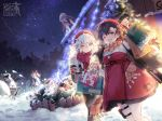 >_< 6+girls @_@ alternate_costume bag bangs black_hair blush braid breasts caws_(girls_frontline) christmas christmas_lights christmas_ornaments christmas_tree coat covering_head cup dress earmuffs gepard_m1_(girls_frontline) girls_frontline glasses gloves grey_hair hair_between_eyes hair_ornament hair_over_one_eye hairclip hat hk21_(girls_frontline) holding holding_bag holding_cup jewelry large_breasts lewis_(girls_frontline) long_hair long_sleeves looking_at_viewer medium_breasts multiple_girls necklace official_art open_mouth pants pantyhose plaid plaid_scarf red_scarf scarf shopping_bag short_hair shovel sidelocks skirt smile snow snowing snowman thigh_strap twin_braids twintails type_100_(girls_frontline)