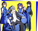 1boy 4girls amagi_yukiko bare_shoulders black_eyes black_hair blue_eyes blue_gloves blue_hair blue_headwear brown_eyes brown_hair cosplay elevator_attendant elizabeth_(persona) elizabeth_(persona)_(cosplay) glasses gloves grey_eyes hairband hat highres kujikawa_rise looking_at_viewer margaret_(persona) margaret_(persona)_(cosplay) multiple_girls nakano_maru narukami_yuu one_eye_closed open_mouth persona persona_3 persona_4 red_eyes redhead satonaka_chie shirogane_naoto shirt short_hair silver_hair simple_background twintails white_shirt