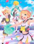 1boy 2girls ;d ankle_socks aqua_eyes aqua_hair arch arm_up armpits bangs black_legwear blonde_hair blue_eyes bow brother_and_sister cheerleader clouds collarbone collared_shirt commentary_request copyright copyright_name crypton_future_media hair_bow hair_ornament hairclip hatsune_miku jumping kagamine_len kagamine_rin konayama_kata light_particles midriff multiple_girls navel necktie one_eye_closed open_mouth petals pleated_skirt pom_poms rose_bush rose_petals sailor_collar shirt shoes short_hair short_sleeves shorts siblings skirt sky sleeveless sleeveless_shirt smile sneakers twins twintails vocaloid wristband