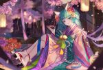 1girl alternate_costume animal_ears aqua_bow aqua_eyes bangs bell blunt_bangs bow cherry_blossoms crossed_legs cup eyelashes flower fox_ears full_body geta hair_flower hair_ornament hatsune_miku huge_bow japanese_clothes kemonomimi_mode kimono lantern long_hair long_sleeves looking_at_viewer night obi outdoors parted_lips pink_flower pink_kimono pink_ribbon purple_flower qie_(25832912) red_flower ribbon sakazuki sash signature sitting smile solo striped striped_bow tabi tree twintails very_long_hair vocaloid white_legwear wide_sleeves yellow_flower