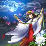 1girl bell black_hair clouds flower full_moon grass hair_flower hair_ornament hands_up highres japanese_clothes jingle_bell k_macchina kagura_suzu kerberos_blade long_hair long_sleeves miko moon night night_sky petals pink_flower red_eyes ribbon ribbon-trimmed_sleeves ribbon_trim sky smile standing white_flower wide_sleeves