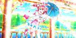 blush dress green_eyes kurosawa_ruby love_live!_school_idol_festival_all_stars pink_hair short_hair smile umbrella wink