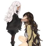 2girls black_hair boots commentary_request elisa_(girls_frontline) girls_frontline height_difference highres holding_another's_head ki_lllorz kneeling korean_commentary looking_up m16a1_(girls_frontline) multiple_girls necktie sangvis_ferri white_background white_hair