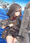 1girl bag belt black_capelet black_dress blue_sky braid brown_belt brown_eyes brown_hair capelet clouds commentary_request cowboy_shot crane day dress gun hair_ribbon highres hood hooded_capelet horizon kantai_collection long_sleeves looking_to_the_side machinery ocean outdoors pleated_dress ribbon rigging shinshuu_maru_(kantai_collection) short_dress simple_background sky solo twin_braids weapon zombie_mogura