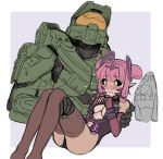 1boy 1girl ahoge armor bangs black_sclera blush breasts carrying closed_mouth danielle_brindle elbow_gloves english_commentary fingerless_gloves gloves hair_ornament halo_(game) helmet highres master_chief navel personification pink_hair pointy_ears princess_carry thigh-highs