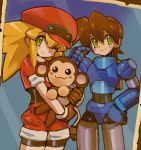 1boy 1girl absurdres android animal belt bike_shorts bike_shorts_under_shorts blonde_hair blush brown_gloves brown_hair cabbie_hat capcom commentary_request dakusuta data_(rockman_dash) gloves green_eyes hair_between_eyes hat highres holding holding_animal long_hair monkey one_eye_closed photo_(object) red_headwear red_shorts rock_volnutt rockman rockman_dash roll_caskett short_sleeves shorts smile