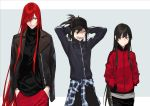 1boy 2girls arms_behind_head black_hair clothes_around_waist contemporary dual_persona fate/grand_order fate_(series) grey_background hair_over_one_eye hands_in_pockets hat jacket long_hair multiple_girls nakuta oda_kippoushi_(fate) oda_nobunaga_(fate) oda_nobunaga_(fate)_(all) oda_nobunaga_(maou_avenger)_(fate) ponytail red_eyes redhead track_jacket two-tone_background