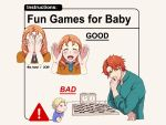 1girl 2boys annette_fantine_dominic baby blonde_hair blue_shirt blush board_game chess chess_piece chessboard chin_rest collared_shirt commentary covering_face dated english_commentary english_text fire_emblem fire_emblem:_three_houses grey_background long_sleeves looking_at_viewer multiple_boys multiple_views open_mouth orange_hair palms peekaboo redhead shirt short_hair sign simple_background smile sylvain_jose_gautier twitter_username warning_sign z_hard